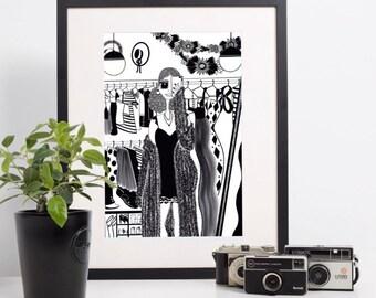 ART PRINT - Closet Selfies B&W - Home decor, wall art, gallery wall, selfie illustration, woman fashion illustration, girl art, closet art
