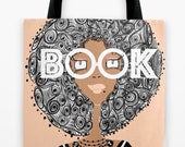 Book Smart Afro Gal TOTE BAG