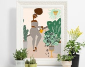 ART PRINT - Watering Plants - home decor,wall art,gallery wall,plant lover,african american art,woman illustration,nature,girl art