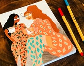 Journal - Cappucinos with friends - Woman illustration,fashion illustration,friendship art,girl art,illustration,digital art