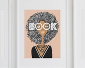 Book Smart with an Afro - art print, home decor, wall art, gallery wall, school , african american art, woman illustration, nature,smart