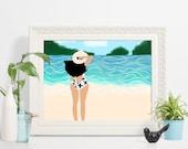Beachy Earthling - art print, beach art, coastal art, tropical art, woman art, cute art, vacation art, caribbean art