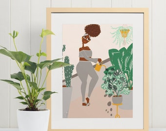 ART PRINT - Watering Plants -  home decor, wall art, gallery wall, plant lover, african american art, woman illustration, nature, cute art