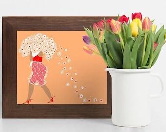 ART PRINT - Bouquet of Flowers - Woman illustration,fashion illustration,girl art,illustration,digital art, bohemian art,flower art,wall art