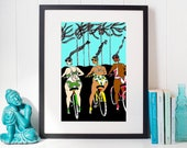 Ride in your Swimsuits - ART PRINT / wall decor / art wall / gallery wall / summer art / fun art / best friends art / bicycle riders