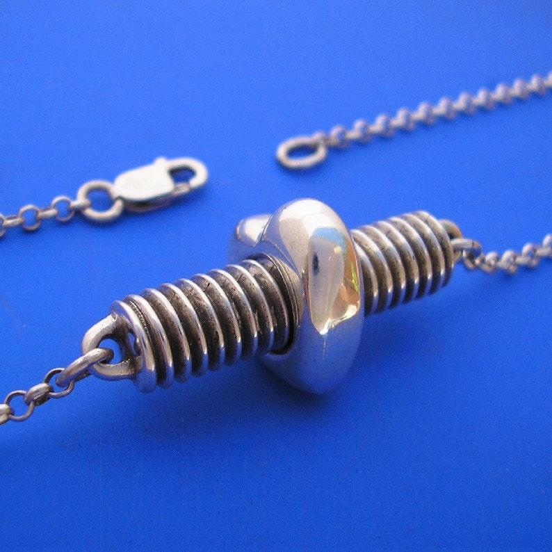 Hand Made Solid Silver Silver Love Nut and Bolt Pendant