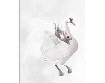 Swan Rabbits Print A3
