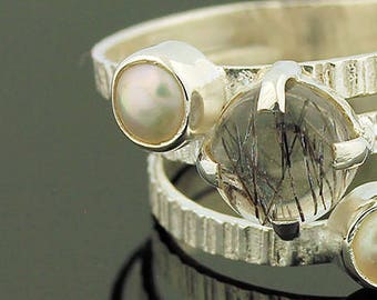 Rutilated Quartz Pearl Ring // 925 Sterling Silver // Ring Size 6.5 // Handmade Jewelry