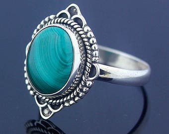 Malachite Silver Size 7.5 Ring Sterling Silver Handmade Jewelry