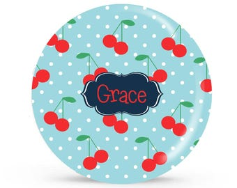 Personalized Plate - Cherry Love - Personalized Plate for Girls
