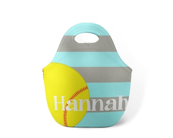 Personalized Lunch Tote - Softball - Custom Lunch tote for Children