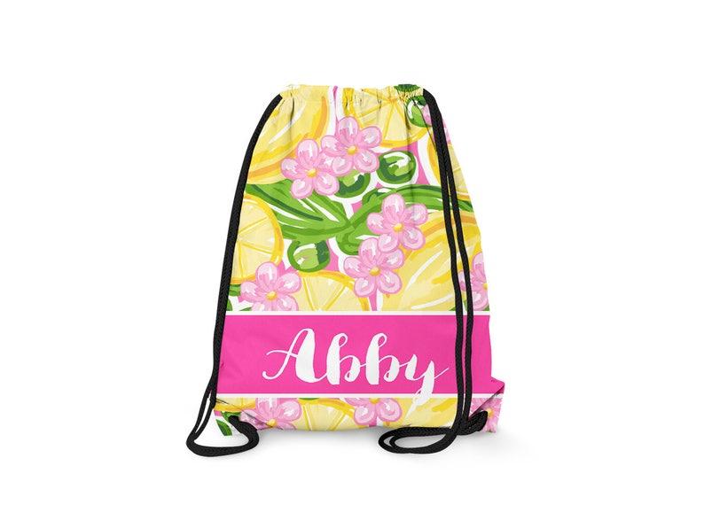 Personalized Kids Drawstring Bag Personalized Drawstring Backpack Pink Lemonade