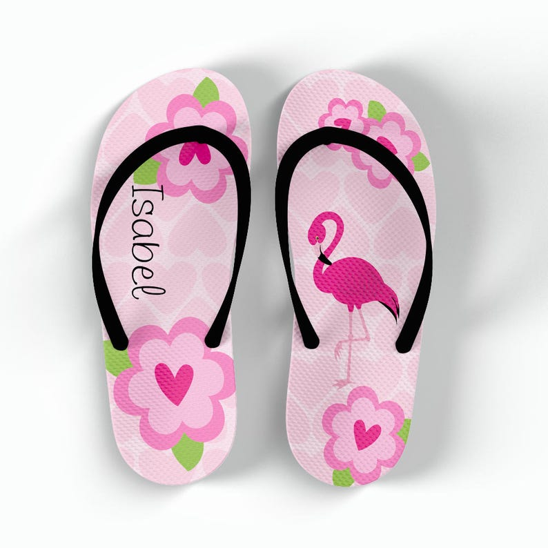 8c0a12ea5a20f1 Personalized Flip Flops Flamingo Monogrammed Personalized