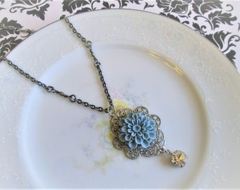 The Rowan Necklace: Vintage Inspired Victorian Blue Mum Flower on Silver Filigree with Vintage Jewel Rhinestone, 20 inch Necklace