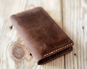 Iphone 5s case. Artisan Iphone leather wallet. Hand stitched iphone leather case. Dark brown leather. Gift for men. IPH021