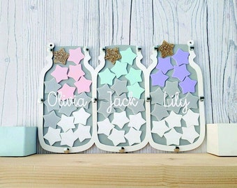 Triple Grey and White Reward Jar • Reward Chart • Good Behaviour System • Children's Personalised Gift • Potty Training • Christmas Present