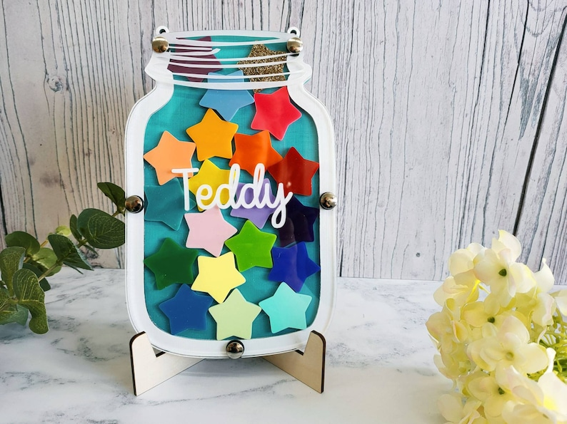 Turquoise and White Reward Jar  Personalised Children's image 0