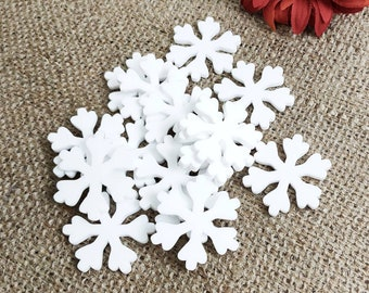 15 White Acrylic Snowflakes for Reward Jars and Christmas Crafts • Coloured Acrylic Tokens - Plastic Craft Shapes - Acrylic Snowflakes Craft