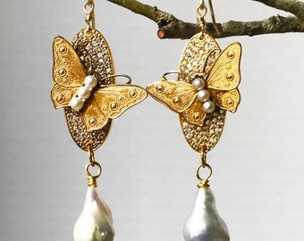 Butterfly Earrings/ Vintage Earrings