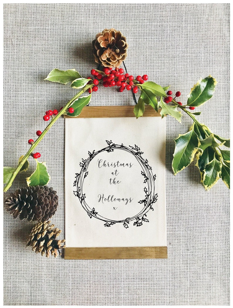Christmas Personalised Canvas Wall Banner / Personalised Wall Hanging /  Banner / Wall Art / Natural Home / Calligraphy Word Art