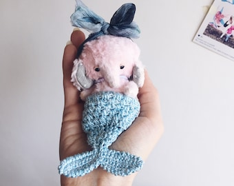 Lovely artist Mermaid teddy elephant OOAK