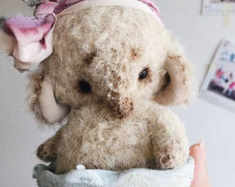 Sold. Made to order.Artist Ice-Cream teddy elephant OOAK
