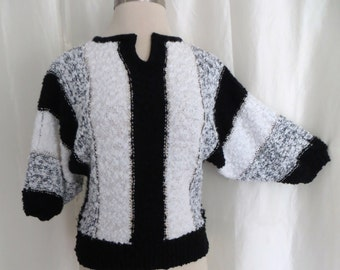 Vintage 70s womens sweater, black white stripe, dolman sleeve pullover, fancy dressy sweater