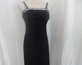 Vintage 70s womens spaghetti strap dress, long  maxi dress, black summer gown