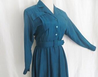 70s vintage  womens teal blue shirtwaist dress, lightweight summer dress, long sleeve Trends by Jerrie Lurie