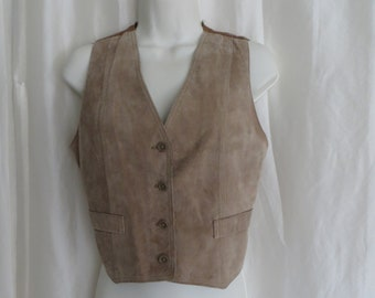 Vintage 80s womens suede leather vest, western, cowboy, cowgirl, brown beige tan, Bermans Leather, size S
