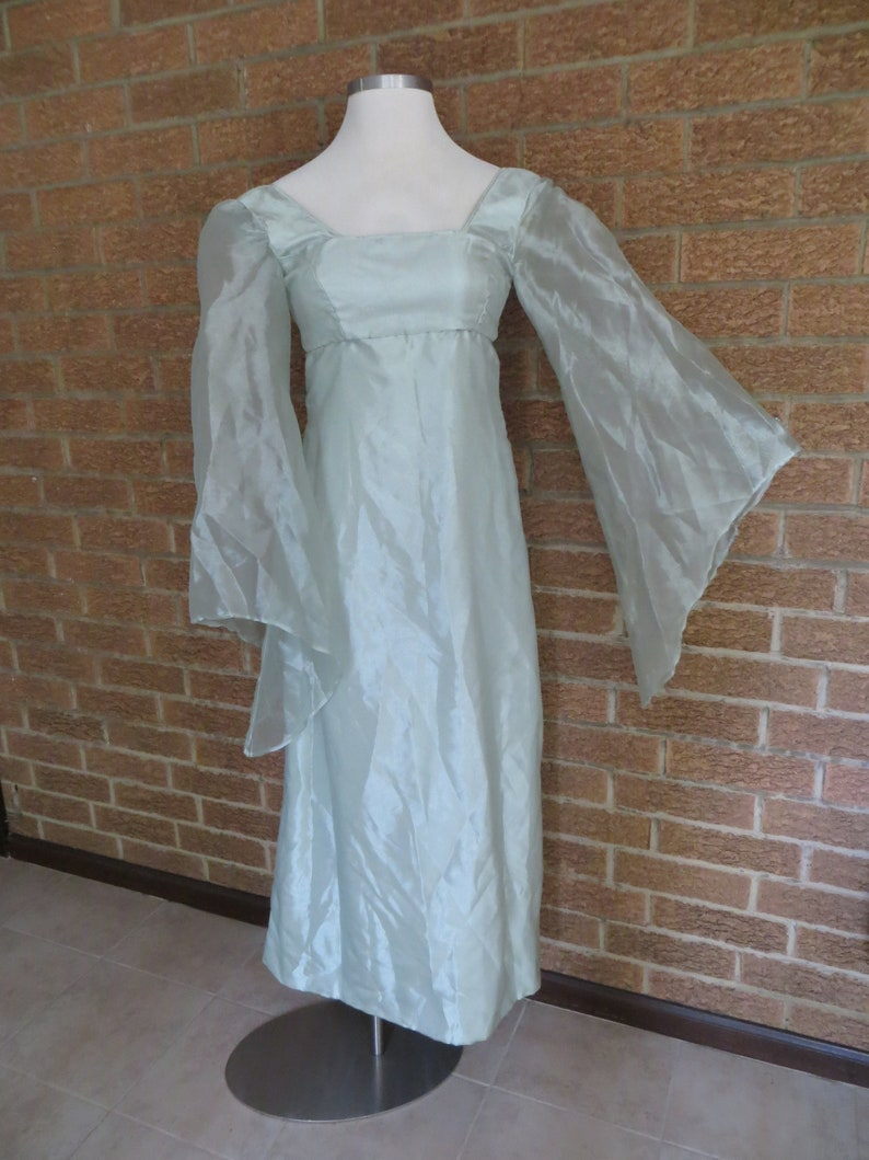a0a9a4a09de5 Vintage womens gown angel wing sleeves empire waist mint | Etsy