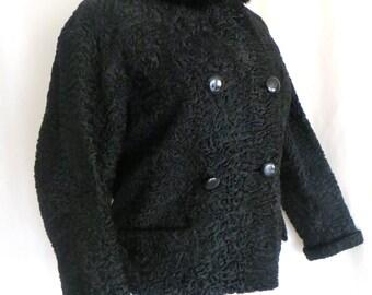 Vintage 50s Elsa Schiaparelli womens winter jacket, lambswool mink collar jacket,  couture designer jacket, high fashion, size L XL jacket,