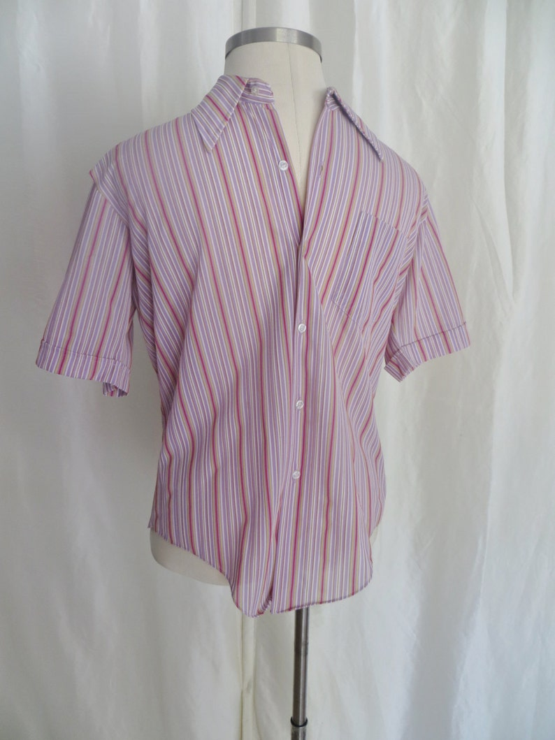 250d9c8f89caa Vintage 60s mens button down shirt short sleeve mod retro
