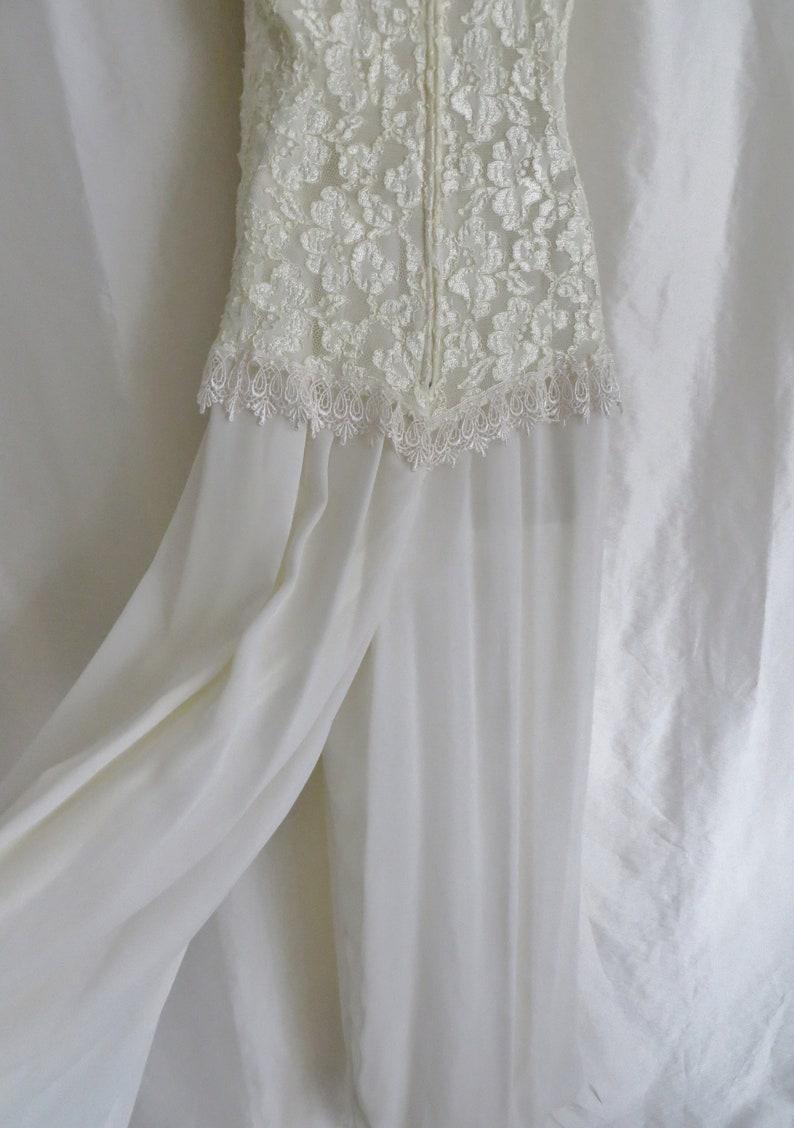 558bb8d39a1d Vintage wedding jumpsuit gown white lace halter top | Etsy