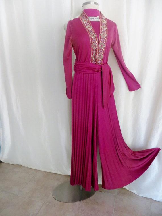 Vintage designer jumpsuit, Victor Costa, hot pink,