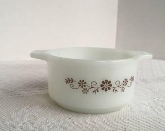 Milk Glass Ovenware / Dynaware PyroRey Brown Daisy Vintage Custard Dish