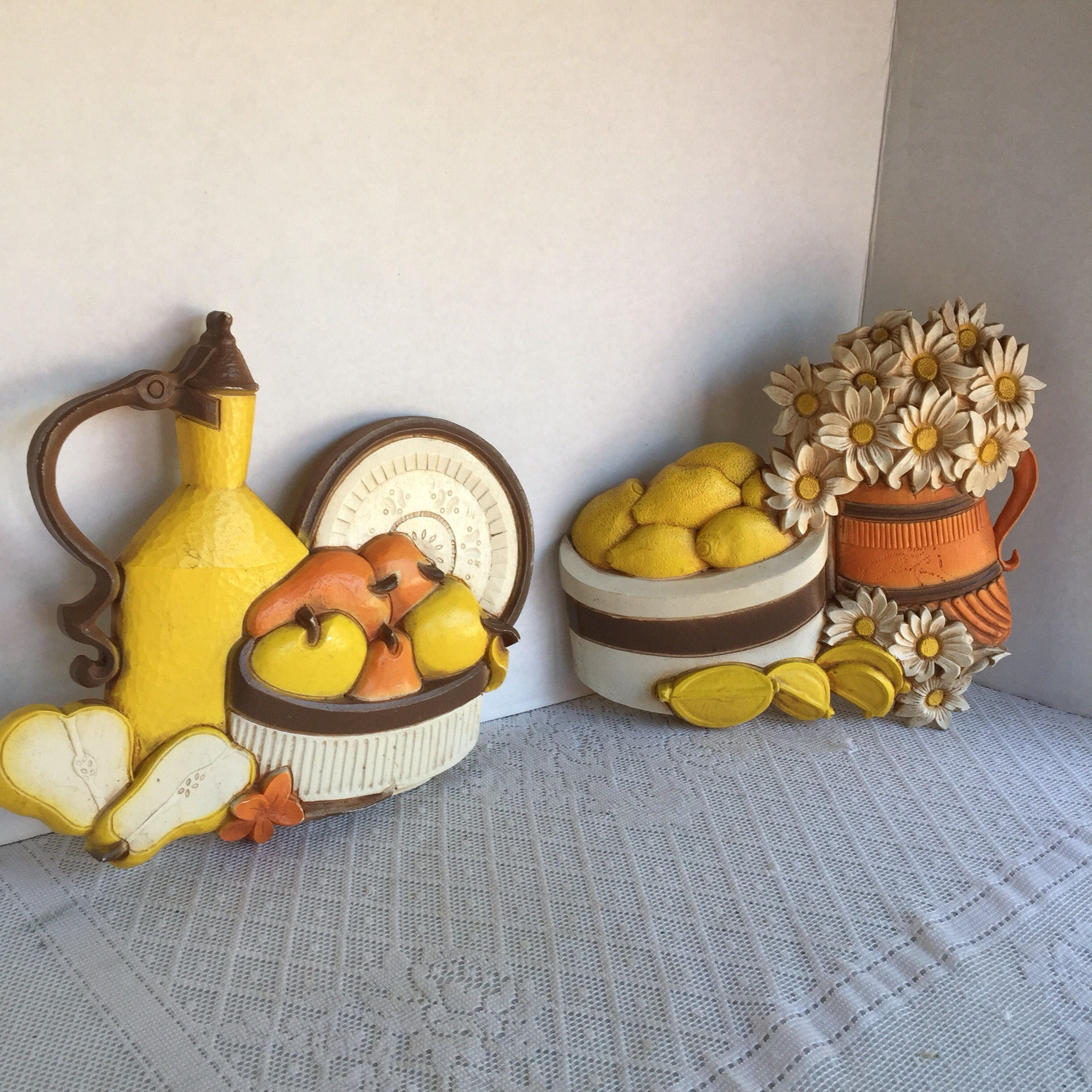 Vintage Fruit And Flower Wall Hangings / Plastic Kitchen