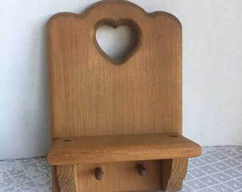Fathers Day Sale Vintage Wall Hanging Shelf with Pegs  /  Vintage Wooden Shelf with Cut Out Heart