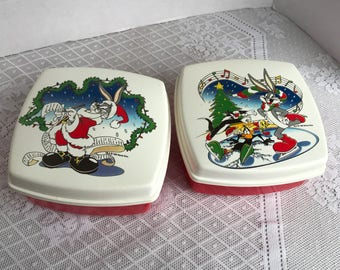 Vintage Bugs Bunny Plastic Containers / Red and White Christmas Boxes featuring Looney Tunes