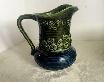 Vintage Blue and Green Ceramic Pitcher by Inarco Made in Japan