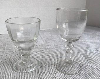 Vintage Mismatched Pair of Cordial Glasses /  Cut Glass Mid Century Stemware