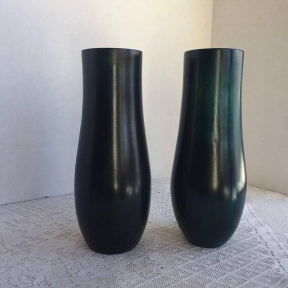 Vintage Blue Wood Vases Wooden Vase Set Of Two Turned Etsy