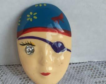Vintage Plastic Head Pin / Rhinestone Eye Gypsy Brooch / Made in Taiwan