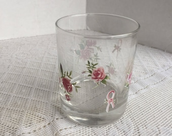 Pink Roses Glass Tumbler / Vintage Pink Ribbon and Rose Drinking Glass