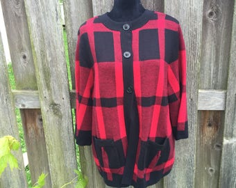 Vintage Red and Black Plaid Cardigan Sweater Size 1X by Designers Originals / 90s sweater