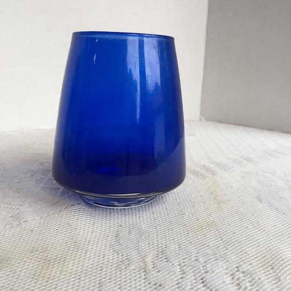 Cobalt Blue Glass Cone Shaped Vase Vintage Seventies Floral