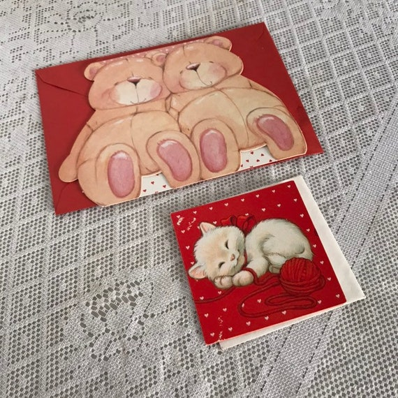 Sale Vintage Valentine\u0027s Day Cards and Envelopes / White Kitten Card /  Teddy Bear Card
