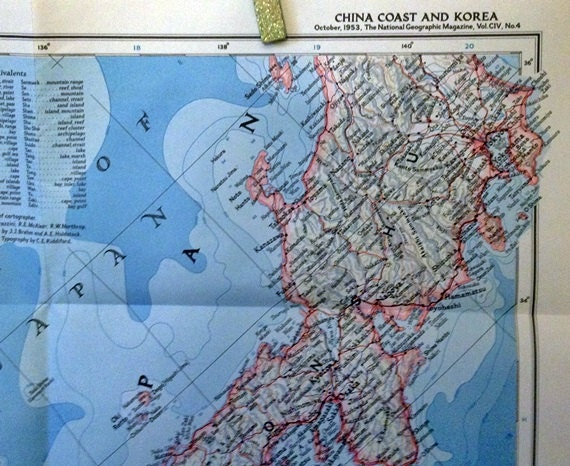 National Geographic Map Of China.Vintage National Geographic Magazine Map China Coast And Korea Etsy