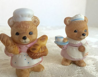 Vintage Miniature Homco Ceramic Bears / Firefighter Chef Waitress and Doctor Bear