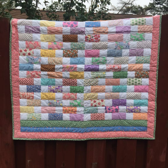 CIJ SaleVintage Afghan Baby Blanket  Hand Knit Throw in Pink Yellow Purple and White